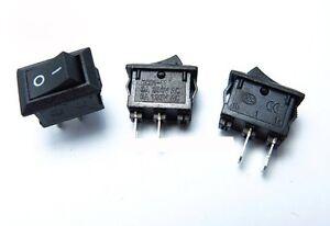 3x Small Mini Black On/Off Rocker Switches SPST 2 Pin Car Dash Boat Arduino 12V