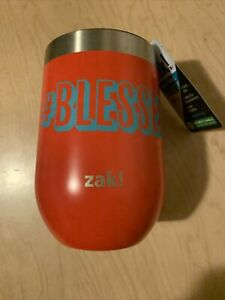 """ZAK! stainless steel stemless Insulated  wine glass Red """"#Blessed"""" 12 Hours"""