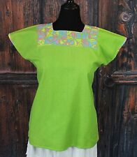 Lime Green & Pastel Color Huipil Hand Embroidery Maya Chiapas Mexico Hippie Boho