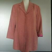 Dana Buchman Womens Size 14/16 Coral Pink Textured Fabric Lined Jacket/Blazer