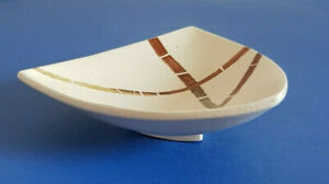 Art Pottery-Hand Painted-Footed Bowl-Striking-Triangular Shape-Signed