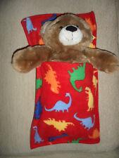 3b97e67b5ac Build a bear teddy sleeping bag blanket pocket red dinosaur dino snuggle  soft