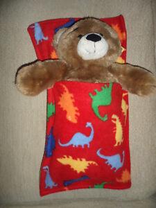 Build a Bear Teddy Saco De Dormir Cobertor De Bolso Vermelho Dinossauro Dino Snuggle Soft