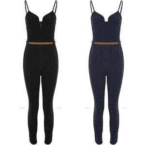 Womens Strappy Cami V Neck Sparkle Glitter Lurex Belted Waist Slim Fit Jumpsuit