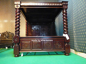 BESPOKE Super King  Mansion mahogany Four Poster canopy Elizabethan TUDOR BED