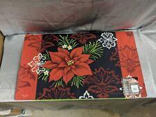 Toland Red Damask 18 x 30 Decorative Christmas Poinsettia Floor Mat Doormat
