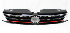 Gloss Black w/ Red Honeycomb Hex Front Grill Fits VW Jetta 4dr Sedan MK6 15-17
