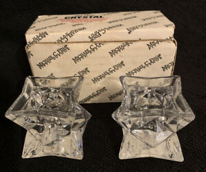 Michael C Fina Fifth Avenue 24% Lead Crystal Star Set Of 2 Candle Holders  NEW
