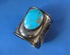 Vintage Hand Crafted Sterling Silver Turquoise Cuff Bracelet