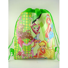 Disney Winx Club Girl Shopping Draw string Bag School Lunch Gym Sport Bag + GIFT