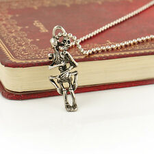 Tibet Silver Stainless Steel Skeleton Couple Pendant Chain Necklace Jewelry Gift