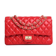 Women Bag Genuine Leather quilted lambskin Purse Quilted Chain messenger bag