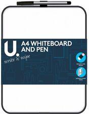2 X A4 Mini Whiteboard & Pen With Eraser Office Notice Memo White Board