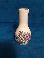 "Vintage Porcelain Vase White 2.5"" X 1"" Painted Flowers Victorian Dollhouse"