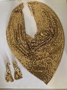 Vintage Whiting & Davis Mesh Bib style Choker Necklace and Earring Set