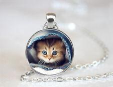 Vintage Cute Cat Cabochon Tibetan silver Glass Chain Pendant Necklace