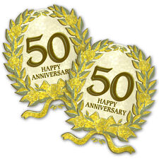 2 Happy 50th Gold Golden Anniversary Party Glitter Plastic Cutouts Decorations