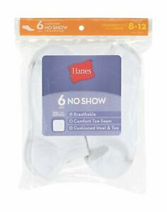 Hanes 6-Pack No Show Socks Women's Cool Comfort Wicking Breathable Sizes 8-12