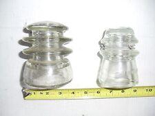 2 OLD VINTAGE GLASS INSULATOR  ARMSTRONG  HEMINGRAY 17