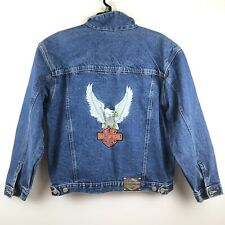 Harley Davidson Motorcycles Denim Jean Jacket Eagle Patch Men's Size Large L