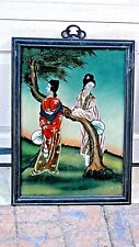 ANTIQUE 19c CHINESE REVERSE GLASS PAINTING TWO YOUNG GIRLS ON LANDSCAPE