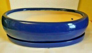 """Lovely Bonsai Pot & Saucer 12"""" long NEW, Blue ***spot"""