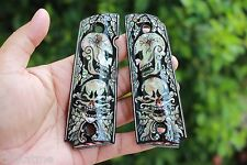 NICE COLT 1911 GRIPS KIMBER SPRINGFIELD Government Inlaid Pearl BLACK ART SKULL
