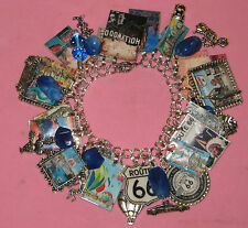 """ROUTE 66 ROAD TRIP-CHICAGO TO L A""-HANDMADE LOADED STATEMENT  CHARM BRACELET"