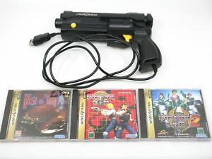 Virtur Cop 1 2 House of The Dead HSS-0152 Gun Game set Sega Saturn NTSC-J Japan