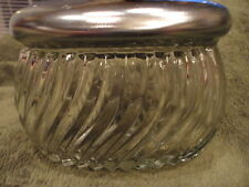 Pattern glass container with metal Lid Stainless Powder, trinket Vintage