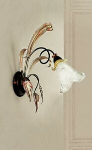Wall Light Classic With Glass Brown Yellow White Gold