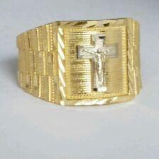 Man's 14k yellow Gold Jesus crucifix Cross Ring S 9