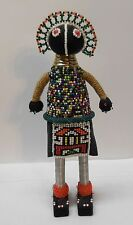 """South African Multi Colored Beaded Doll Metal Neck Ring Vintage 11"""""""