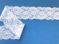"Laces Galore White Stretch Lace Soft Scalloped 2.25""/6 cm Trim  Craft Lingerie"