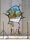 "Banksy, West Bank Wall, Graffiti Art, Giclee Canvas Print, 8""x10.5"""