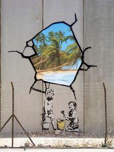 "Banksy, West Bank Wall, Graffiti Art, Giclee Canvas Print, 12""x16"""
