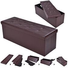 """43""""x15""""x15"""" Large Folding Storage PU Leather Ottoman Pouffe Box Stool Coffee"""