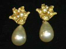 MIRIAM HASKELL Signed Large Faux Baroque Pearl Ornate Gold Drop Dangle Earrings!
