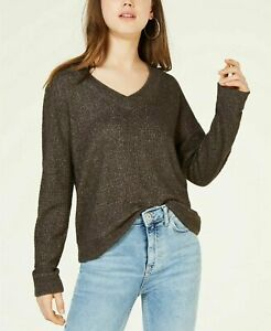 NEW Hippie Rose Women's Juniors V-Neck Waffle-Knit Top Steal Gray Size Medium