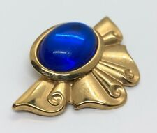 Vintage Fashion Costume Brooch Pin Gold Tone Blue