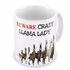 Beware Crazy LLAMA LADY Funny Novelty Gift Mug
