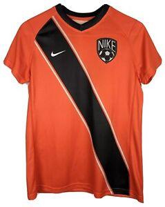Nike Running Soccer Shirt Youth Boys Sz Large Short Sleeve Orange Striped 12 New