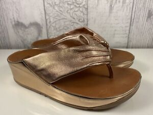 FitFlop Twiss Rose Gold Leather Toe Post Sandal Size 36 Uk 3 RRP £90