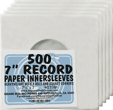 "(500) 07IW 7"" White Paper Record Inner Sleeves ACID FREE 45 RPM ARCHIVAL Covers"