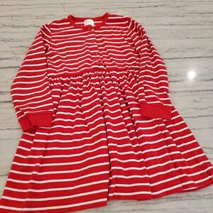 Hanna Andersson Girls Red and White Striped Button Dress Size 120 US 6-7