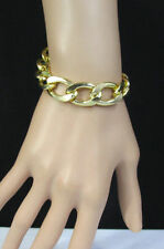 New Women Classic Thick Chunky Gold Metal Chain Links Bracelet Fashion Jewelry