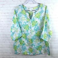 J.Jill Women's Size M Floral Linen 3/4 Sleeve V-Neck Shirt Top Blouse