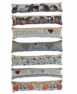 Fabric Draught Excluder Door or Window Tapestry Draft Guard Cushion Velvet Back