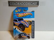 2012 Hot Wheels #176 Blue Custom Volkswagen Beetle w/OH5 Spoke Wheels