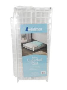 Whitmor Rolling Underbed Cart Organization Storage Wire Home Kitchen White
